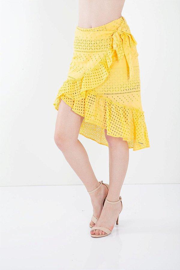 Saia Bana Bana Assimétrica em Laise Amarelo