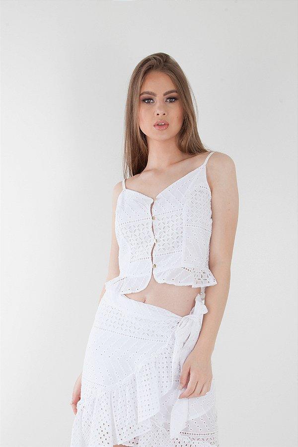 Blusa Bana Bana Cropped de Alça com Botões Frontais em Lese Branca