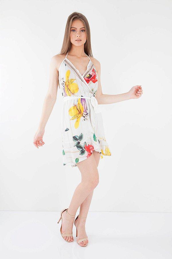 Vestido Bana Bana Transpassado Estampado Off White