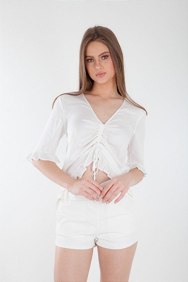 Camisa Bana Bana com Franzido Off White