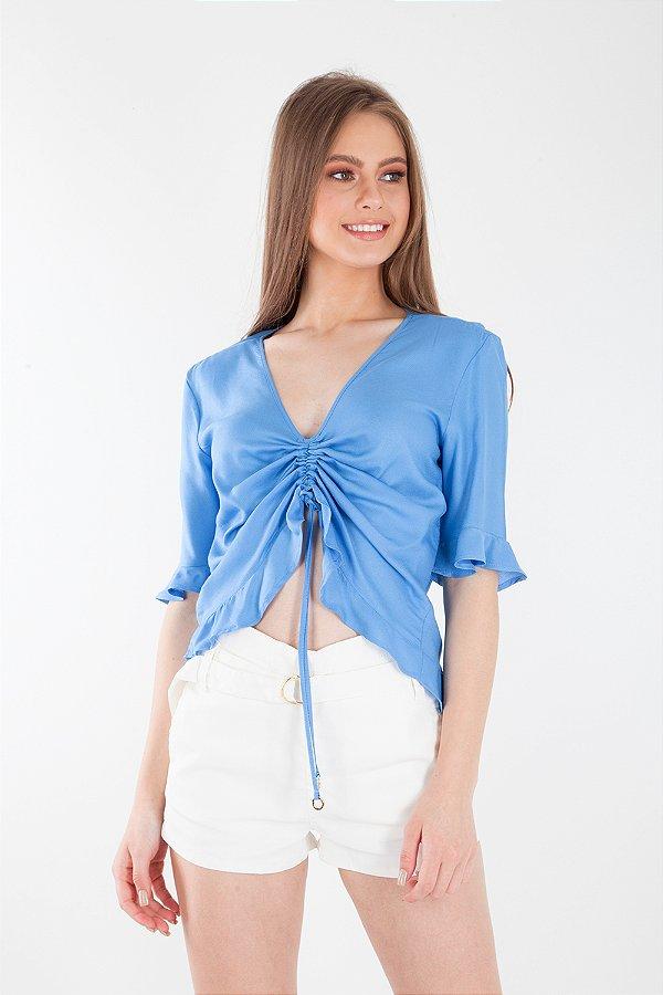 Camisa Bana Bana com Franzido Azul