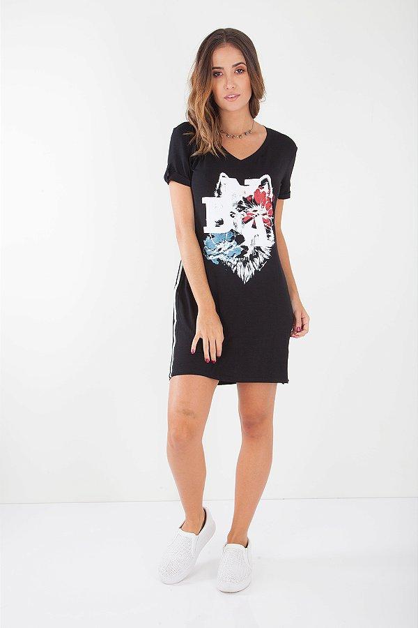 Vestido Curto Bana Bana T-Shirt Dress Preto
