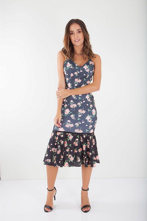 Vestido Midi Bana Bana Estampado Floral Preto