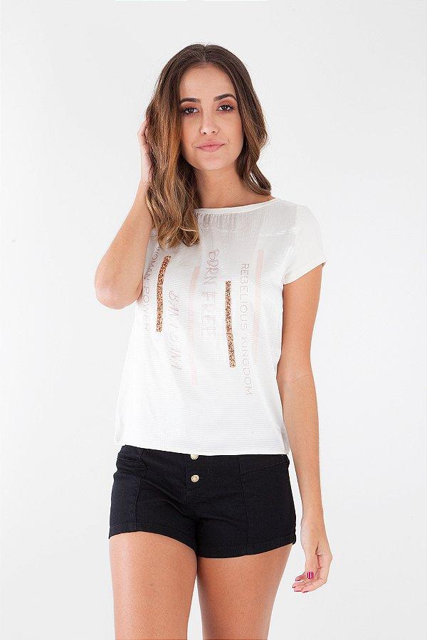 T-Shirt Bana Bana com Aplicação de Pedrarias Off White