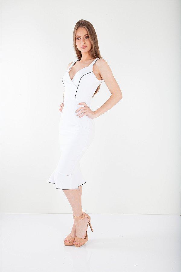 Vestido Midi Bana Bana Bengaline Branco