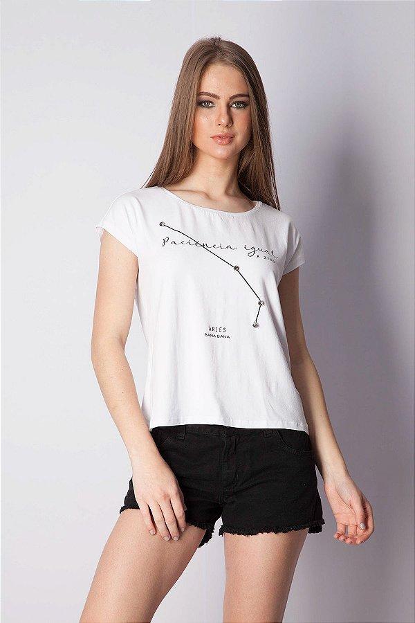 T-Shirt Bana Bana com Estampa de Signo Áries Branca