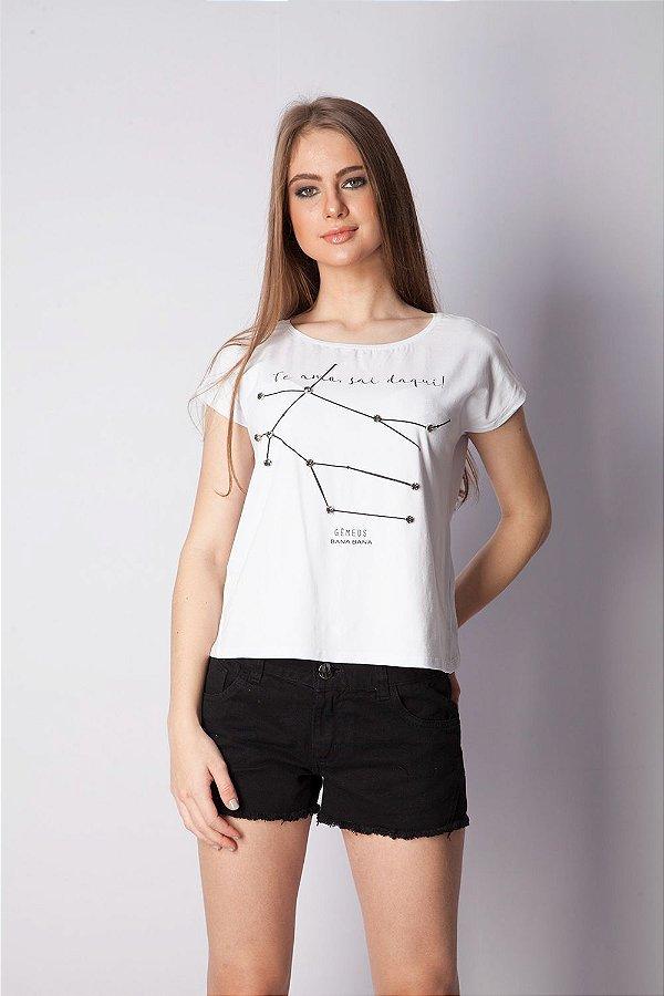T-Shirt Bana Bana com Estampa de Signo Gêmeos Branca