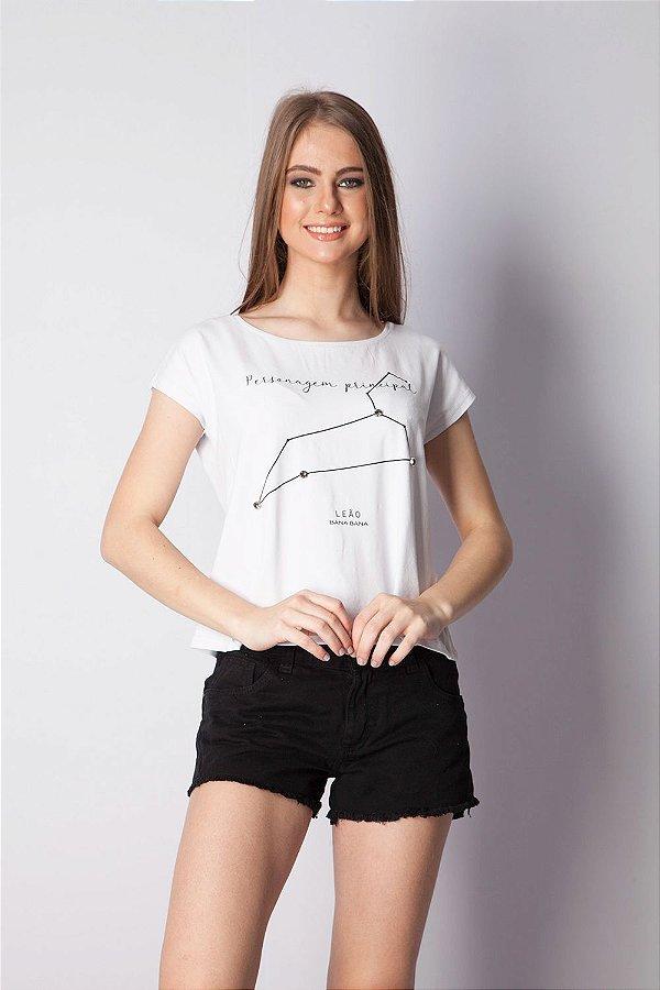 T-Shirt Bana Bana com Estampa de Signo Leão Branca