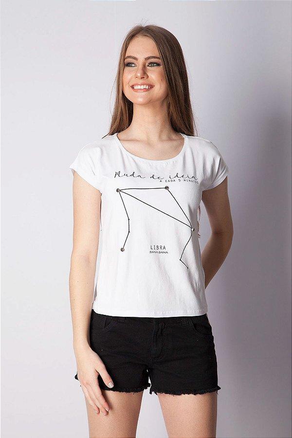 T-Shirt Bana Bana com Estampa de Signo Libra Branca