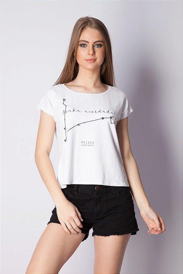 T-Shirt Bana Bana com Estampa de Signo Peixes Branca