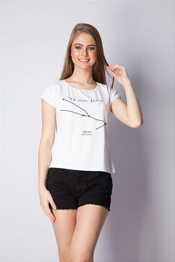 T-Shirt Bana Bana com Estampa de Signo Touro Branca