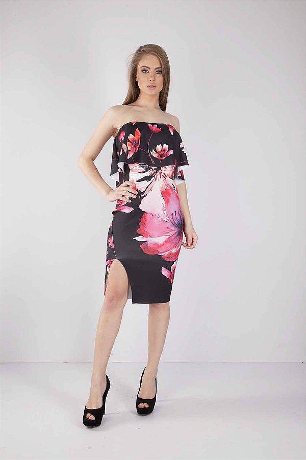 Vestido Curto Bana Bana Ombro a Ombro Preto Floral