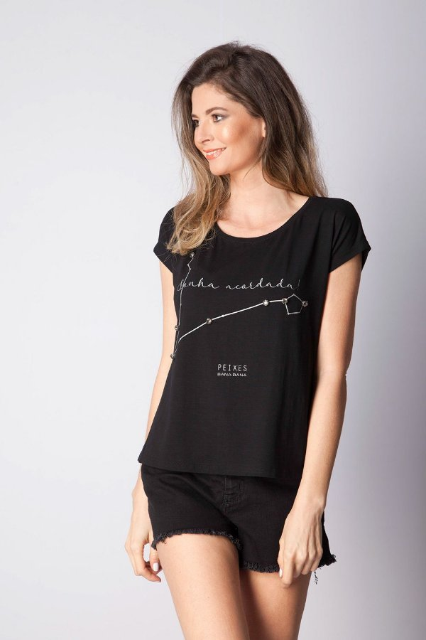 T-Shirt Bana Bana com Estampa de Signo Peixes Preta