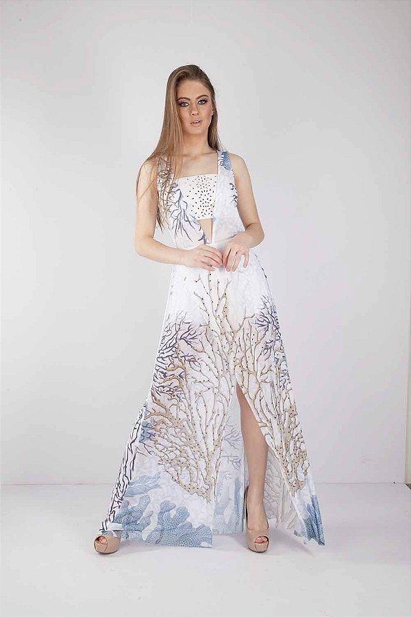 Vestido Longo Bana Bana com Aplicação de Pedrarias Off White