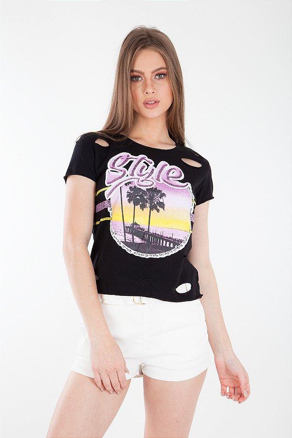 T-Shirt Bana Bana com Cortes a Laser Preto
