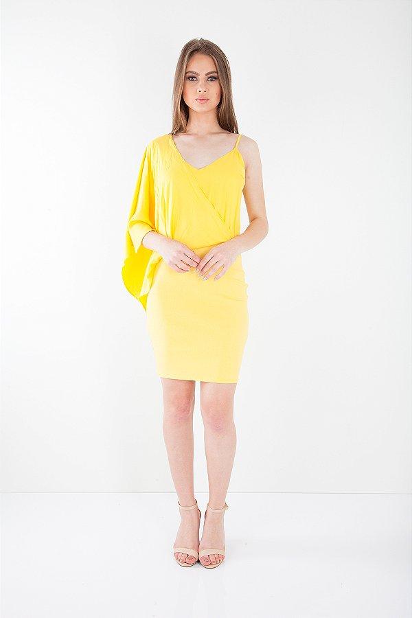 Vestido Curto Bana Bana com Detalhe Amarelo