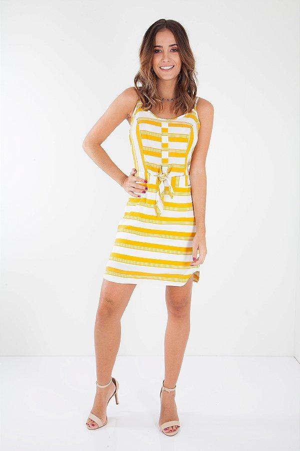 Vestido Bana Bana Curto com Amarração Listrado Amarelo