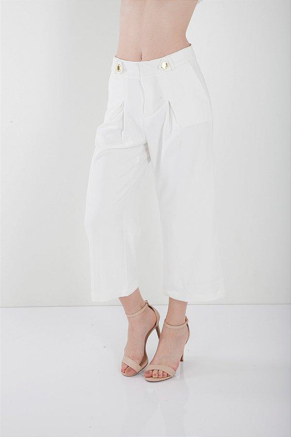 Calça Alfaiataria Bana Bana Pantacourt com Botões Off White