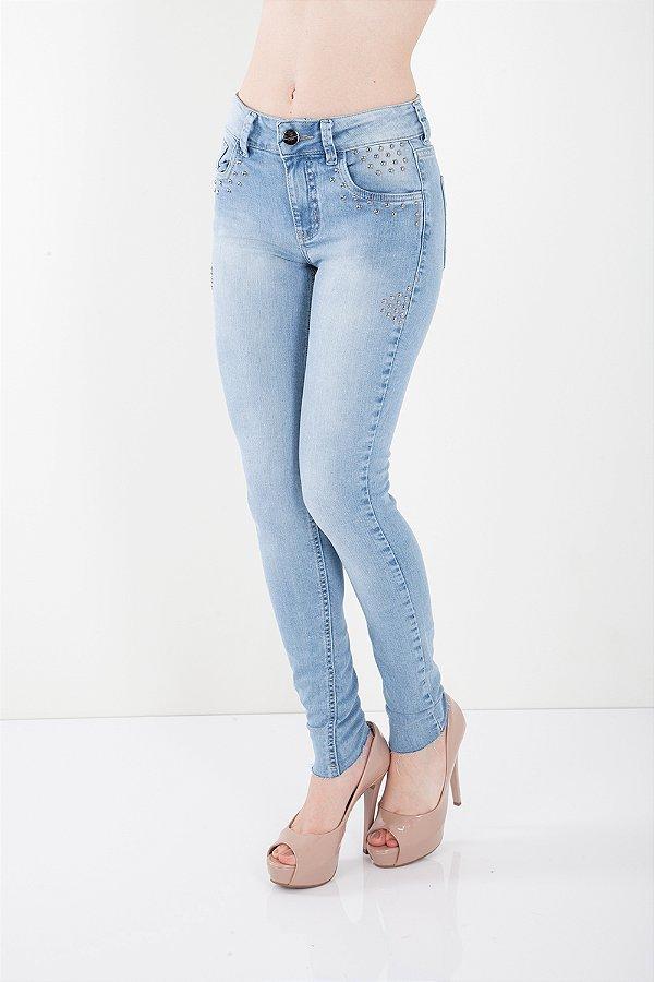Calça Jeans Bana Bana Midi Skinny com Tachas Azul