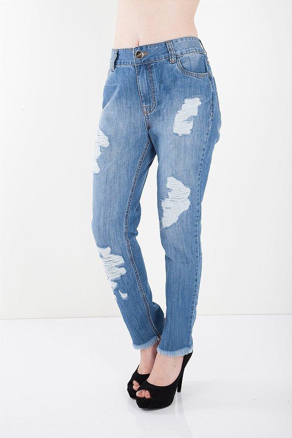 Calça Jeans Bana Bana Girlfriend com Destroyed Azul