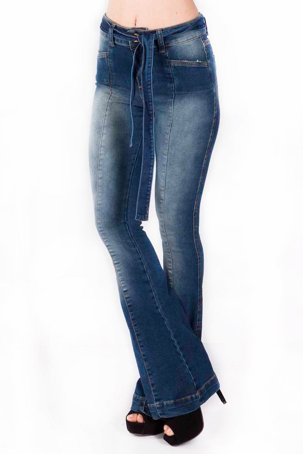 Calça Jeans Bana Bana High Boot Cut com Nervura