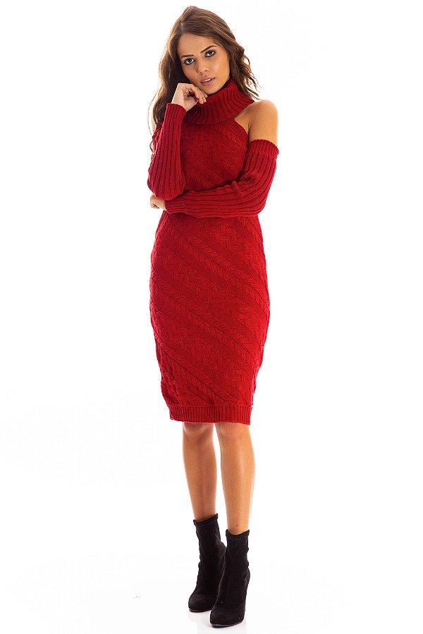 Vestido Tricot Bana Bana Assimétrico Vermelho
