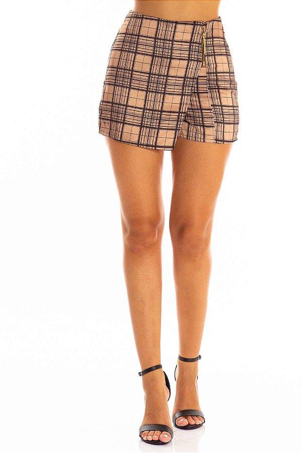 Shorts Saia Bana Bana Assimétrico Estampado Xadrez