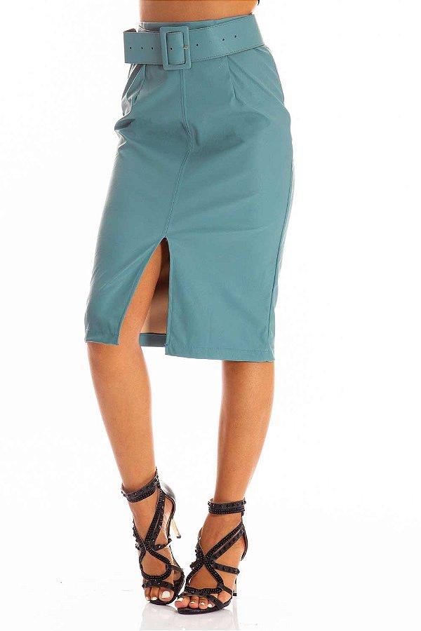 Saia Bana Bana Midi em Leather com Cinto Azul