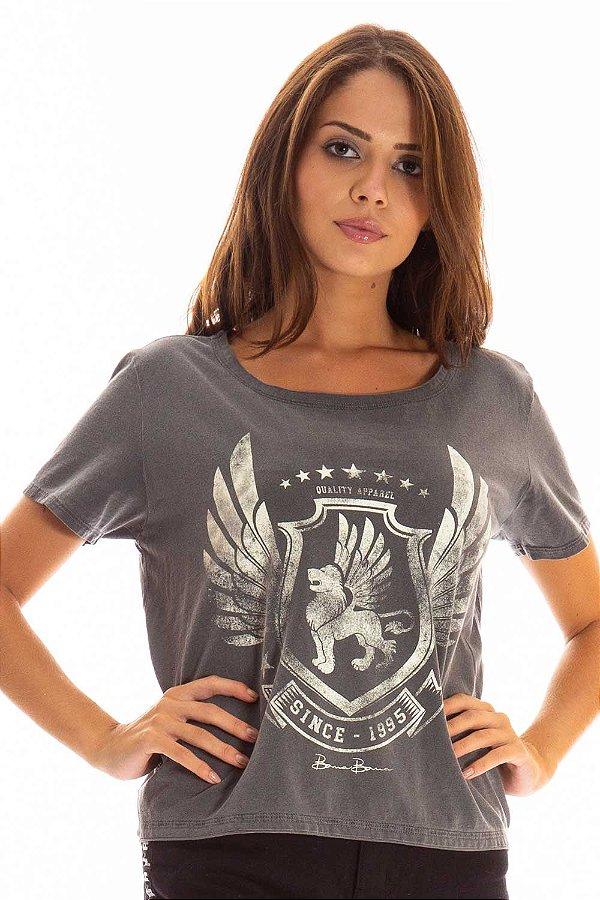 T-Shirt Bana Bana Estampada Cinza