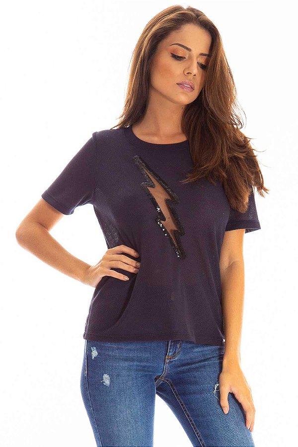 T-Shirt Bana Bana com Recorte Azul Marinho