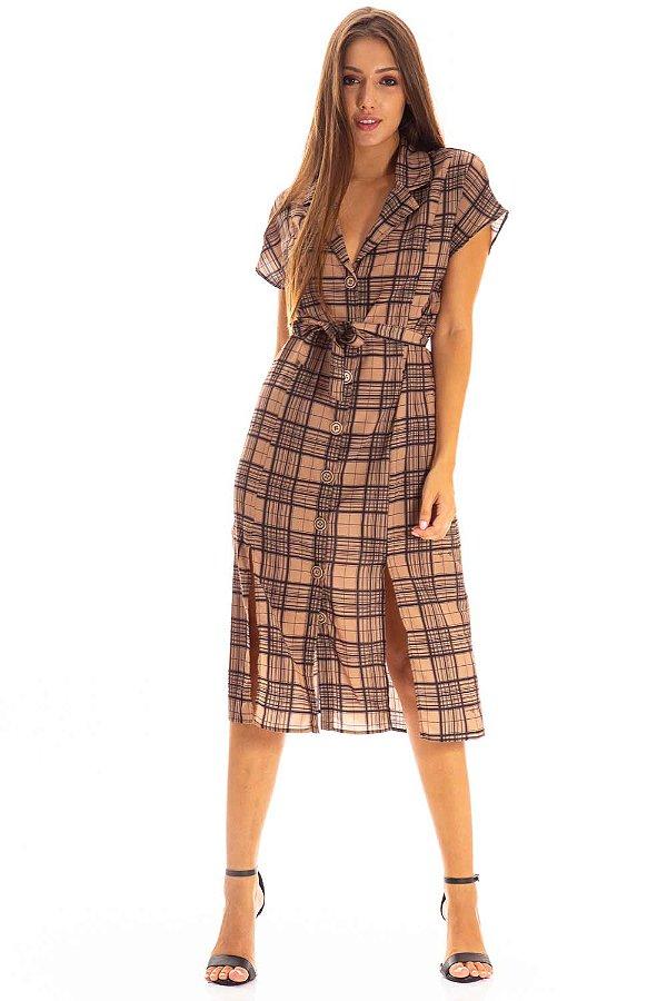 Vestido Midi Bana Bana Xadrez com Fendas