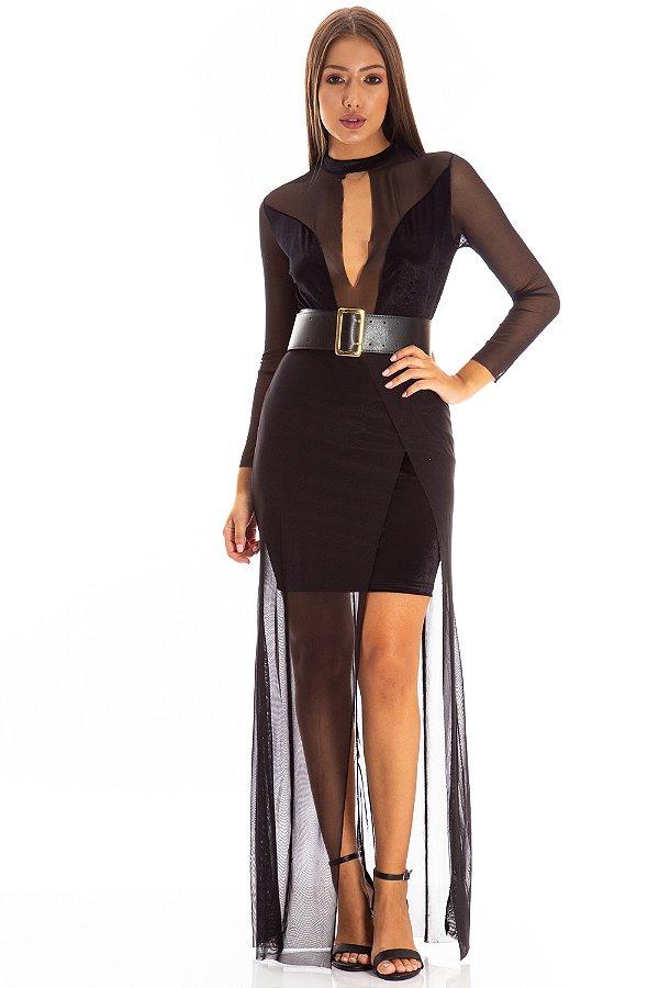 Vestido Longo Bana Bana com Tule Preto