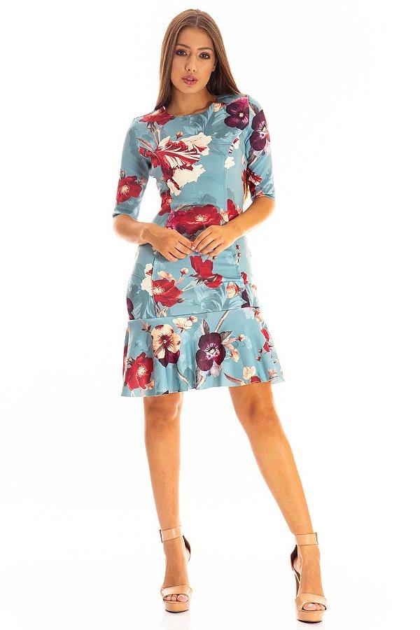 Vestido Bana Bana Curto com Leve Peplum Estampado Azul