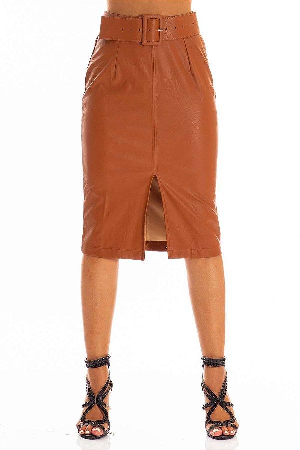 Saia Bana Bana Midi em Leather com Cinto Caramelo