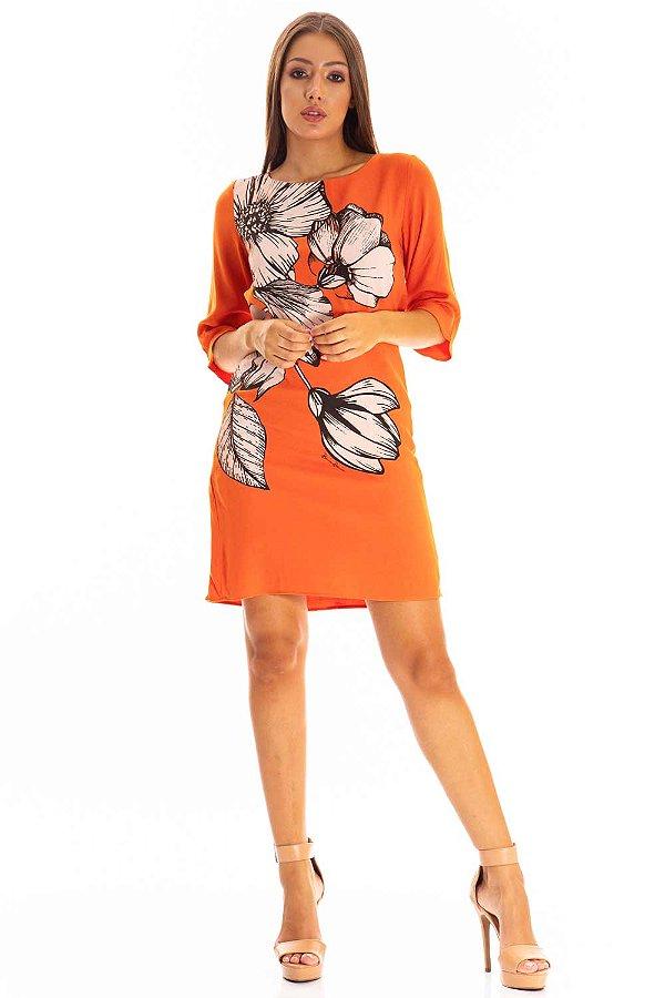 Vestido Bana Bana Curto com Estampa Laranja
