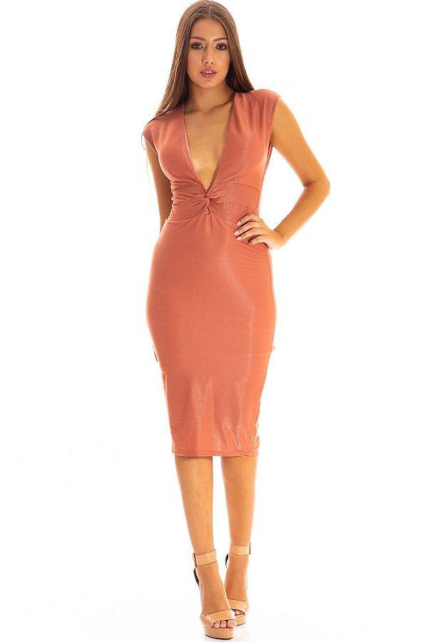 Vestido Midi Bana Bana com Decote V Rosê