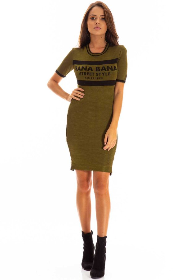 Vestido Bana Bana Jacquard Verde Militar