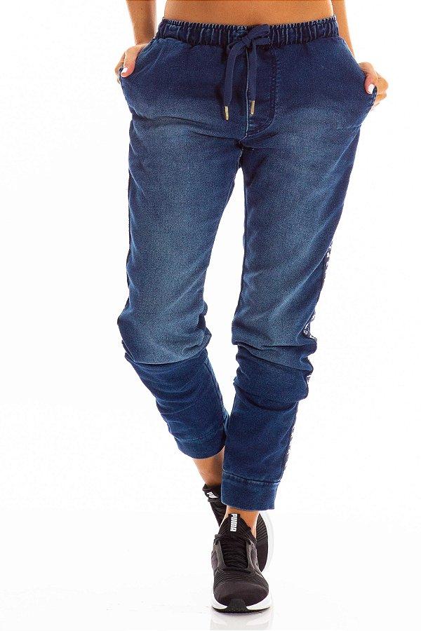 Calça Jeans Bana Bana Jogging com Cadarço Lateral