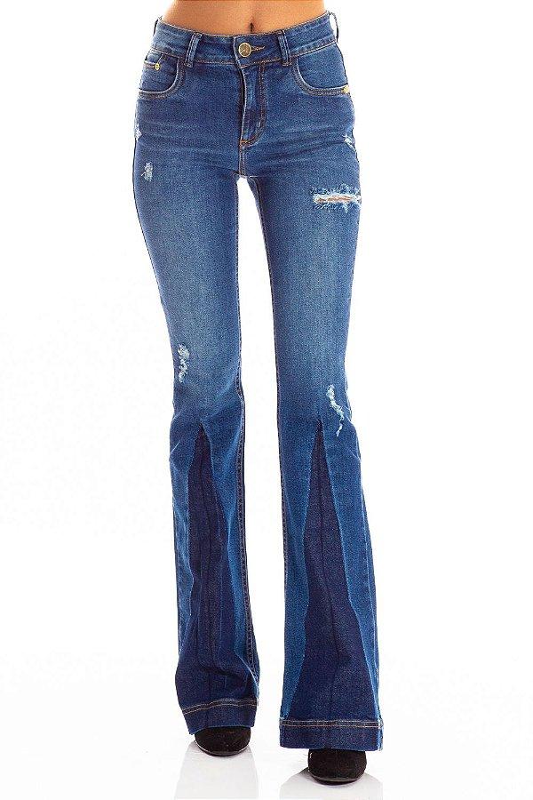 Calça Jeans Bana Bana High Flare com Fenda
