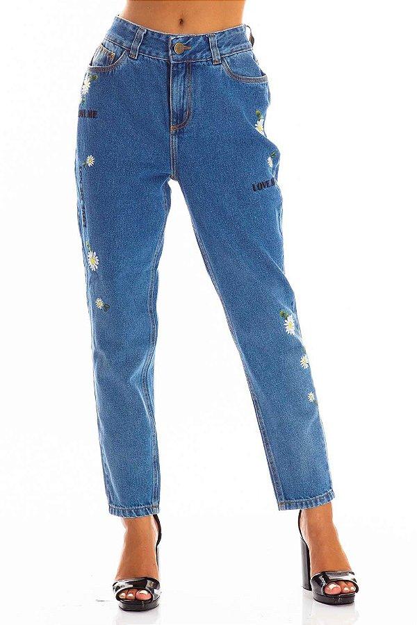 Calça Jeans Bana Bana Mom Fit com Bordado