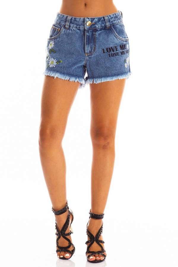Shorts Jeans Bana Bana com Bordado