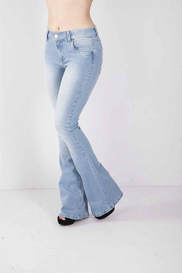 Calça Jeans Bana Bana Midi Flare Azul