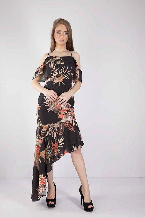 Vestido Longo Bana Bana Estampado Floral Preto