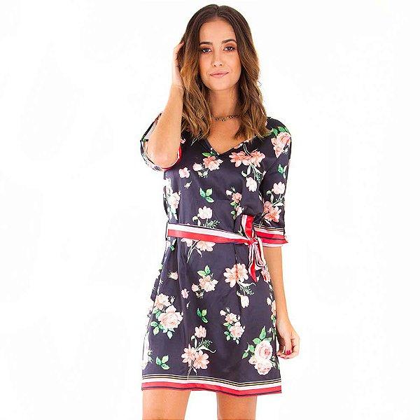 Vestido Curto Bana Bana com Cinto Estampa Floral