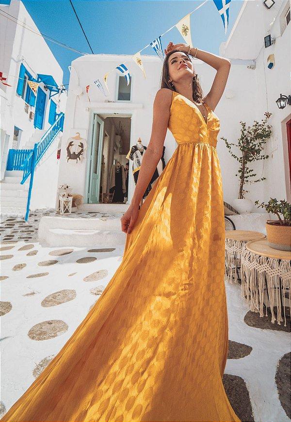 Vestido Longo Bana Bana com Abertura e Detalhe Costas Amarelo