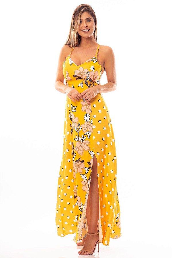 Vestido Longo Bana Bana com Abertura nas Costas