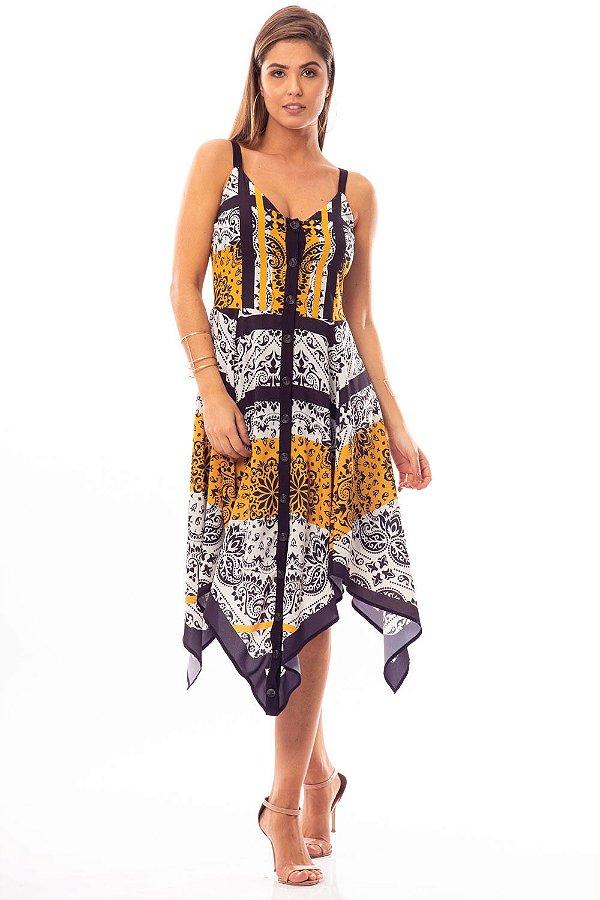Vestido Midi Bana Bana Assimétrico com Pontas Estampado