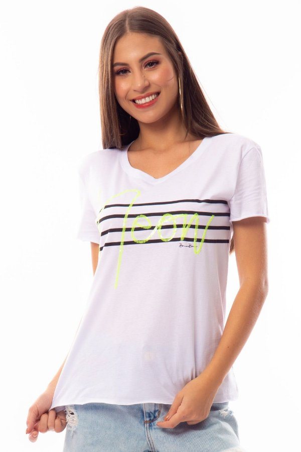 T-Shirt Bana Bana com Detalhe Neon Branca