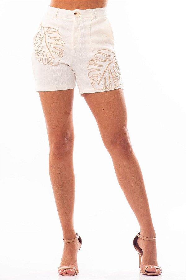 Shorts Bana Bana Alfaiataria Hot Pants com Bordado Off White