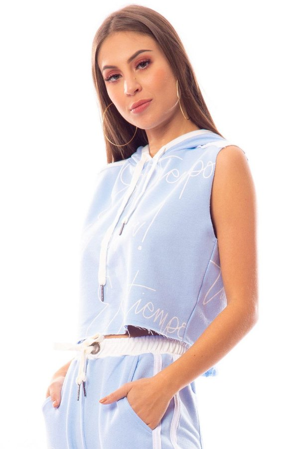 Blusa Bana Bana Regata de Moletom com Capuz Azul